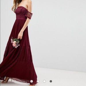 ASOS Bridesmaid Guipure Lace Burgundy Maxi Dress